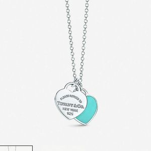 Tiffany mini double heart tag pendant necklace